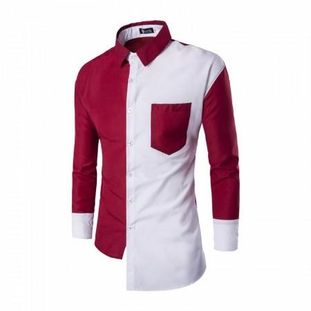 Camisa Design Assimétrico Azul e Branco Masculina Casual Social de Botão