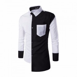 Asymmetrical Design Men's Casual Blue and White Casual Social Button