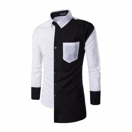 Asymmetrical Design Men's Casual Blue and White Casual Social Button