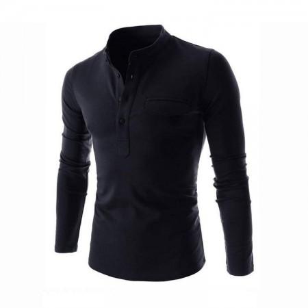 Black Slim Fit Men's Casual Long Sleeve Men's T Shirt