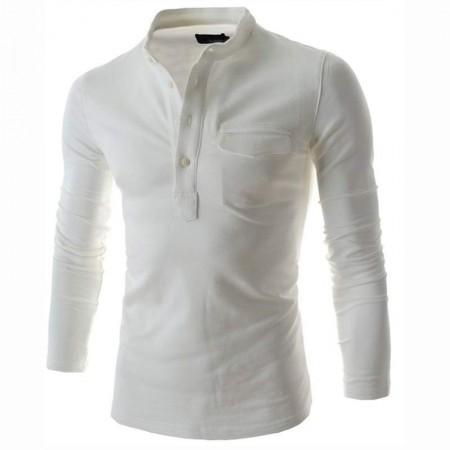Camiseta Branca Slim Fit Masculina Manga Longa Casual Masculina