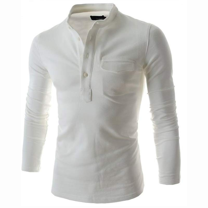 0adbbdbac9 Camiseta Branca Slim Fit Masculina Manga Longa Casual Masculina