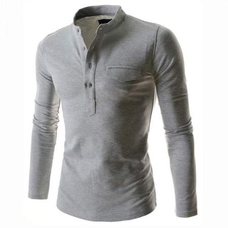 Red Slim Fit Men's Casual Long Sleeve Men's T Shirt