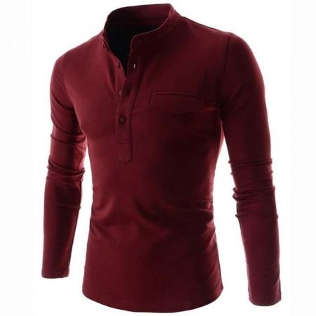 Camiseta Vermelha Slim Fit Masculina Manga Longa Casual Masculina