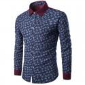 Camisa Slim Fit Azul Floral Masculina Verão Férias Casual Luxo Descolada