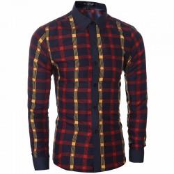 Camisa Quadriculada Slim Fit Vermelha Masculina Social de Trabalho