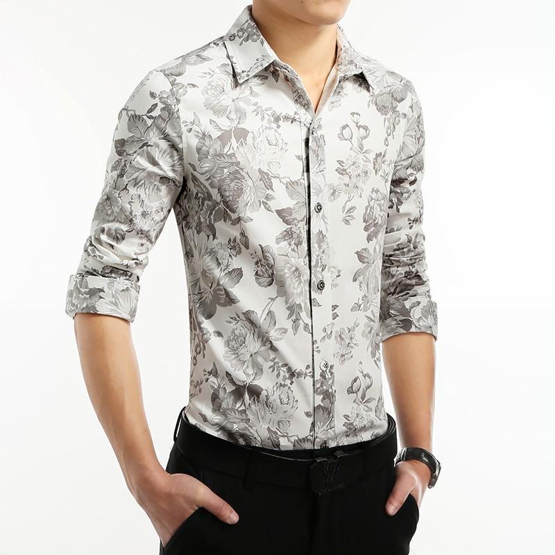 Men 39 s floral slim fit social shirt vintage white long sleeve for Mens white floral shirt