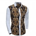 Floral Printed Shirt Summer Holiday Slim Fit Men Long Sleeve