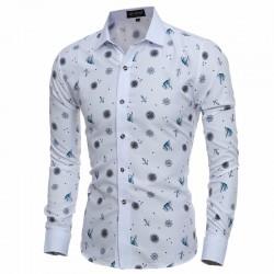 Fun Funny Printed Shirt Slim Fit Slim White Men's Casual Dress