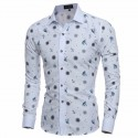 Fun Funny Printed Shirt Slim Fit Slim White Men's Casual Dress