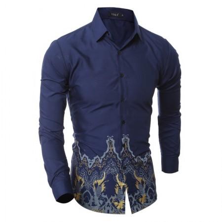 Camisa Casual Slim Masculina Azul Marinho Social Manga Longa
