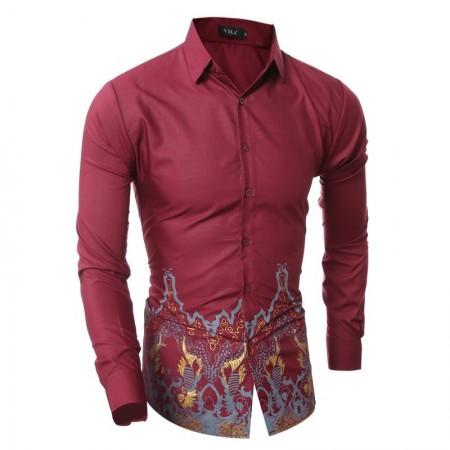 Casual Slim Men's Shirt Navy Blue Social Long Sleeve