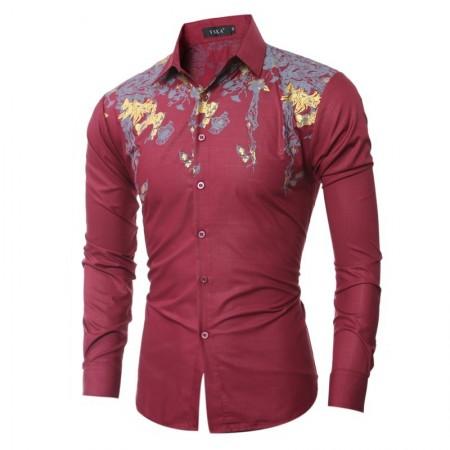 Camisas Tropicais Vermelha Slim Férias Masculinas Casual Manga Longa Social