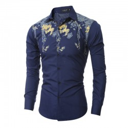 Tropical Slim Red Shirts Casual Men's Casual Casual Long Sleeve Social