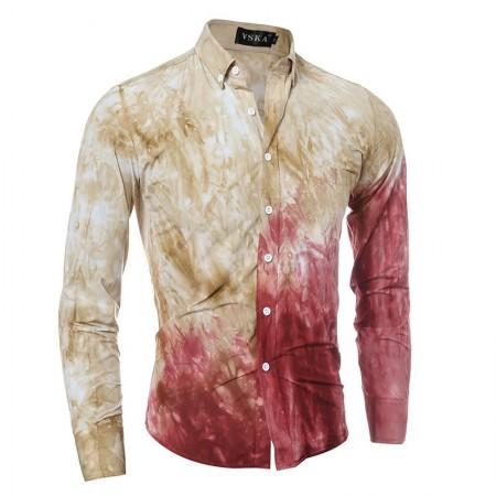 Camisa Degrade Manchas Slim Casual Masculina Social Rosa e Azul