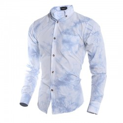 Social Slim Slim Style Men's Shirt Blue Calro Moda Summer