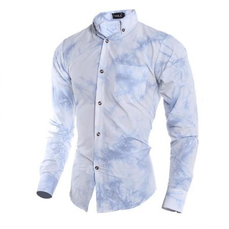 Camisa Estilo Manchado Social Slim Masculina Azul Calro Moda Verão