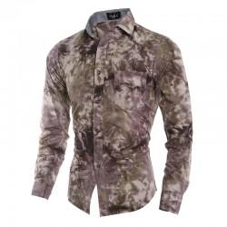 Camisa Slim Camuflada Casual Masculina Social Exército Roxa Pintada