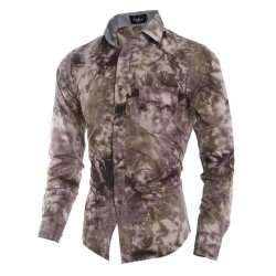 Men's Casual Camouflaged Slim Shirt Social Purple Army Painted