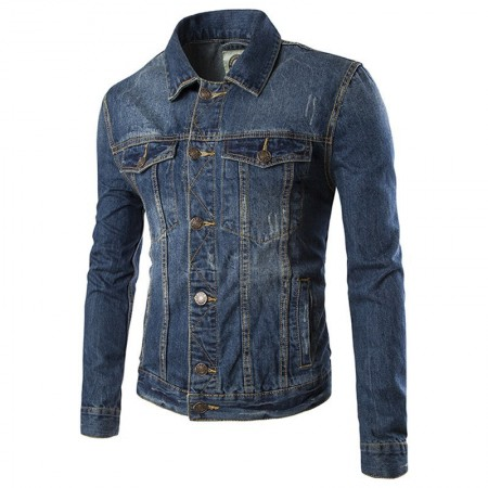 Men's Jeans Jacket Light Blue Washed Biker Adventure