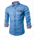 Social Sky Blue Slim Fit Men's Casual Slim Casual Long Sleeve Button