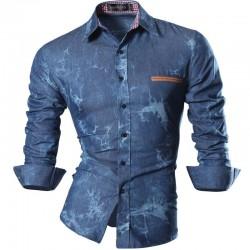 Camisa Social Azul Céu Slim Fit Masculina Lisa Casual Manga Longa de Botão