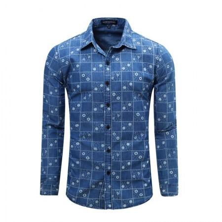 Camisa Jeans Fino Slim Azul Masculina Casual Estampada Manga Longa