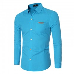 Camisa Social Lisa Slim Azul Masculina Formal Básica Manga Longa
