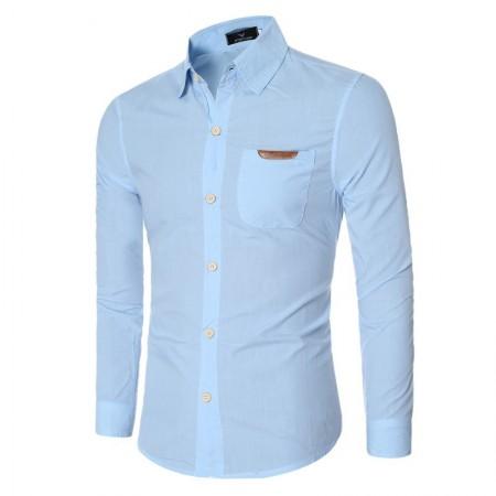 Social Slim Lisa Blue Men's Basic Formal Basic Long Sleeve