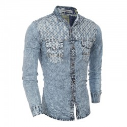 Camisa Jeans Azul Lavado Masculina Jaqueta Manga Longa Vintage