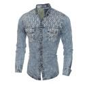Men's Jeans Blue Washed Shirt Long Sleeve Vintage Jacket