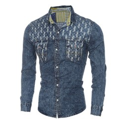 Men's Jeans Blue Washed Shirt Long Sleeve Vintage Jacket
