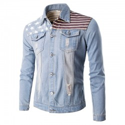 Men's Jeans Washed Jacket Casual Slim Fit Jeans Long Sleeve