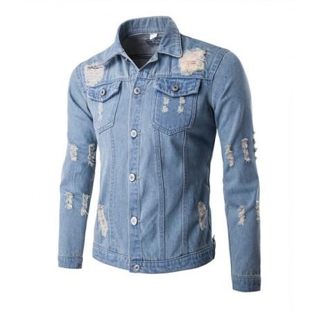 a4ed01364c Camisa Jeans Lavado Masculina Jaqueta Casual jeans Slim Fit Manga Longa