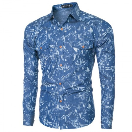 Men's Slim Fit Social Print Hawaiian Summer Vacation