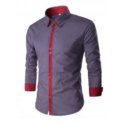 Black Social Slim Fit Casual Men's Night Party Long Sleeve Shirt