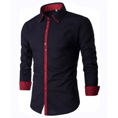 Black Social Slim Fit Casual Men's Night Party Long Sleeve Shirt