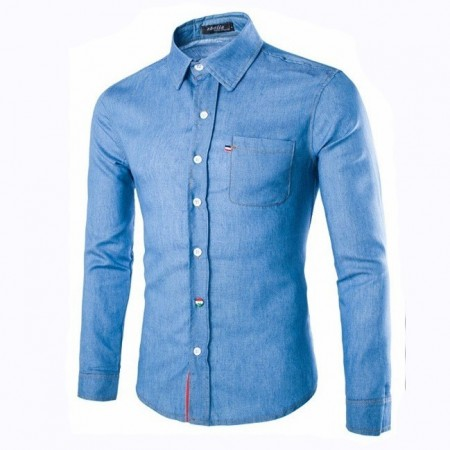 Jeans Slim Slim Blue Men's Casual Long Sleeve