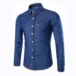 Camisa Jeans Fino Slim Azul Masculina Calitta Social Manga Longa