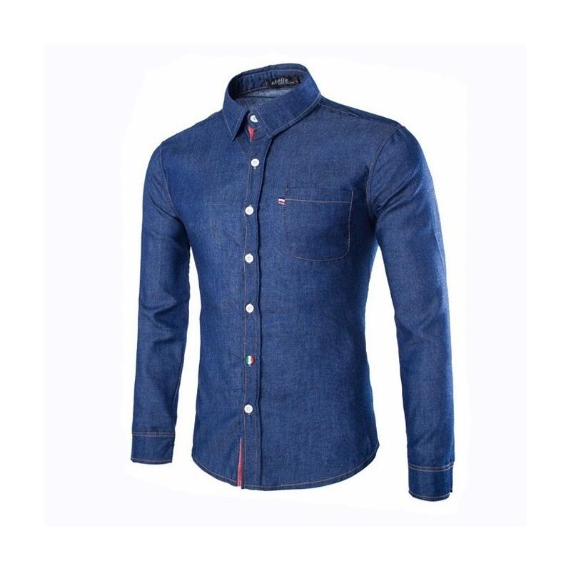 Camisa Jeans Azul Com Pedraria - Feminina - integraShirt