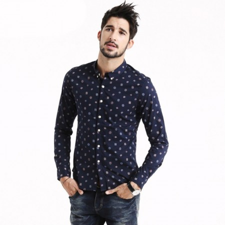 Casual Slim Fit Printed Casual Men's Shirt Navy Blue Long Sleeve