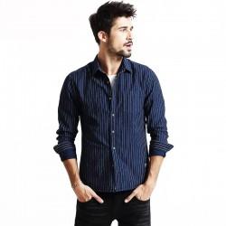 Striped Shirt Navy Blue Men's Casual Elegant Casual