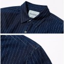 Camisa Listrada Azul Marinho Social Masculina Casual Elegante