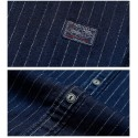 Striped Shirt Navy Blue Men's Casual Elegant Casual
