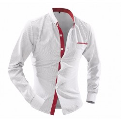 White Slim Social Men's Long Sleeve Elegant Party Shirt