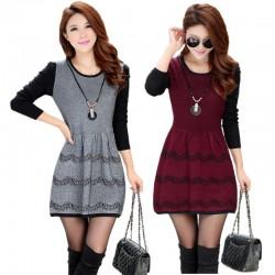 Vestidos Bustier Curto de Inverno Manga Longa Vinho e Cinza Tricotado