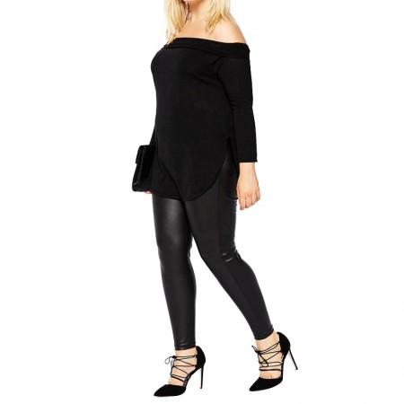 Stylish Fallen Blouse Long Sleeve Black Extra Large