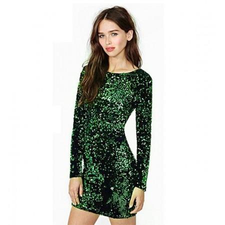 Short Dress Bright Green Chameleon Skin Lanteja Party Evening Paête