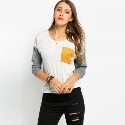 Camiseta Feminina Manga Longa Casual Urbana Branca e Cinza Básica