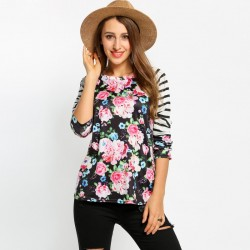 Women's Blouse Floral Striped Long Sleeve Black and White Linda Casual